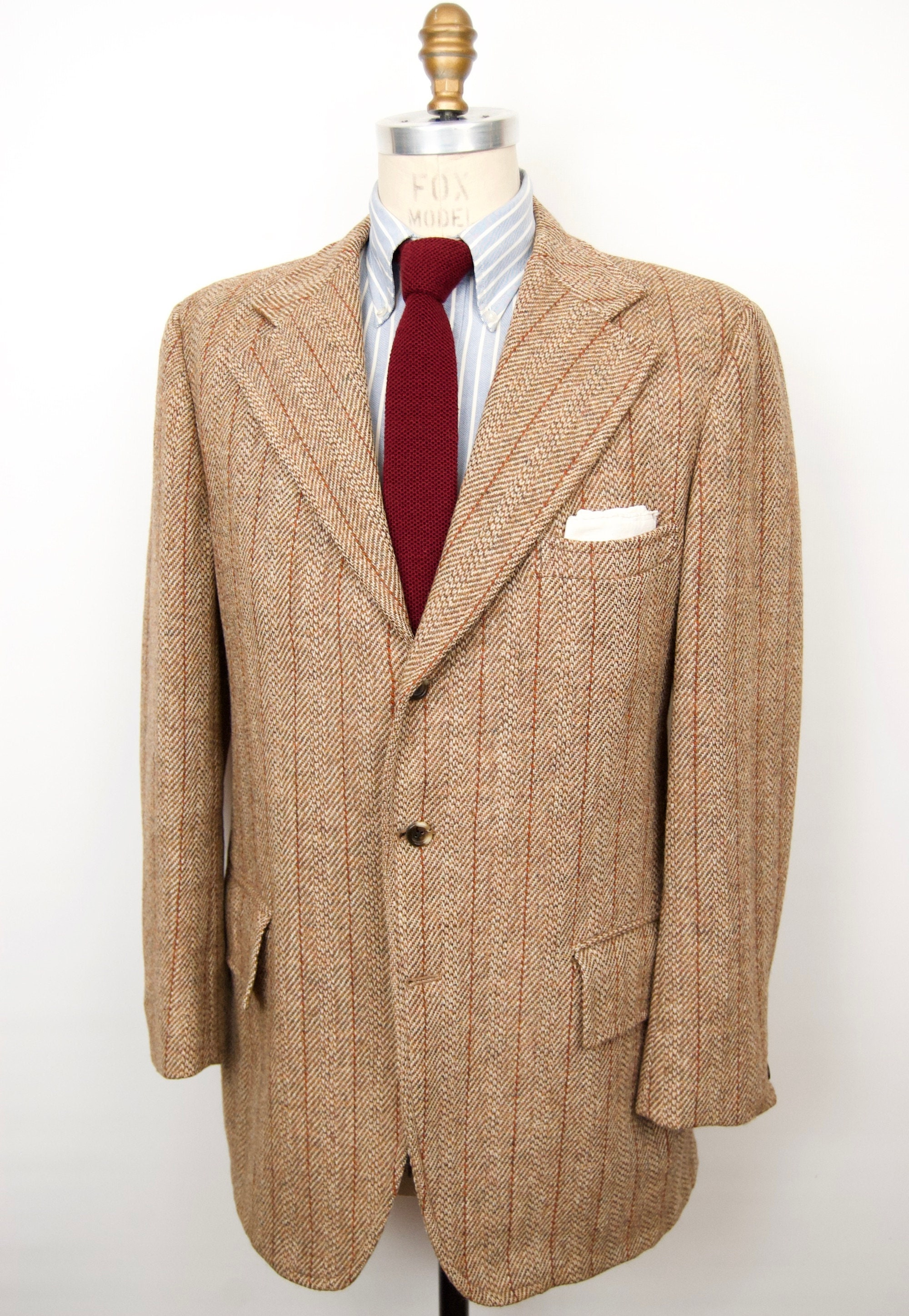 1960s – 70s Men's Ties | Skinny Ties, Slim Ties 1960S Harris Tweed Sport Coat with Herringbone Stripe Wool3-Button Suit Jacket Mens Extra Large $112.00 AT vintagedancer.com