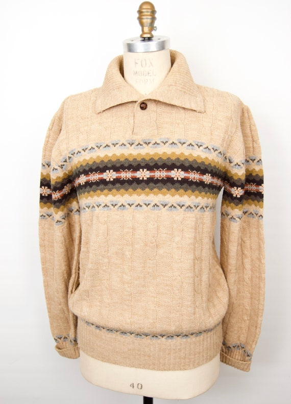 1970s-80s Collared Cable Knit Sweater w/ Fair Isle
