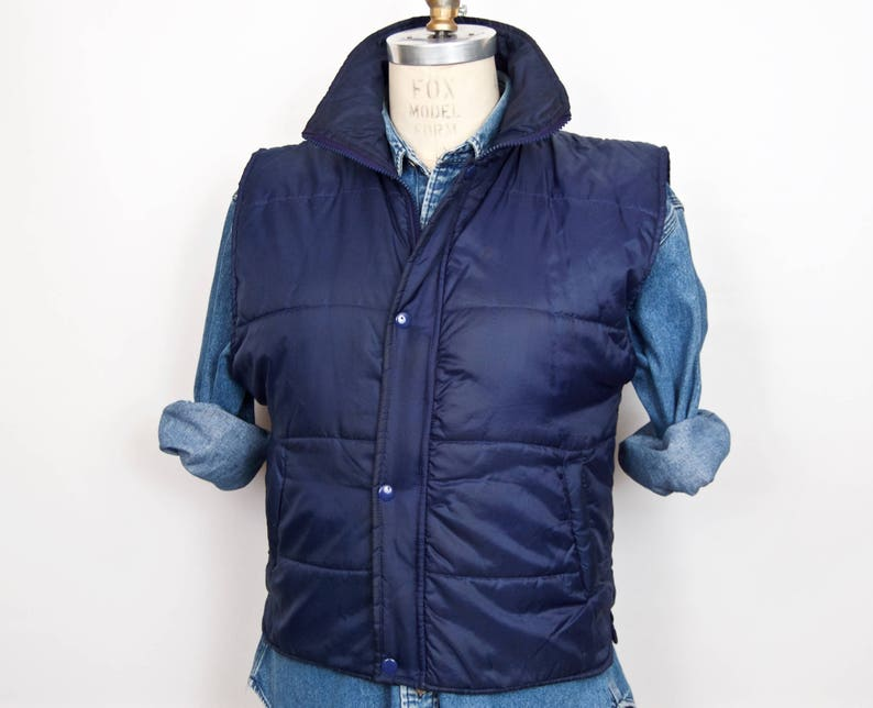Soft Quilted Nylon Vest Navy