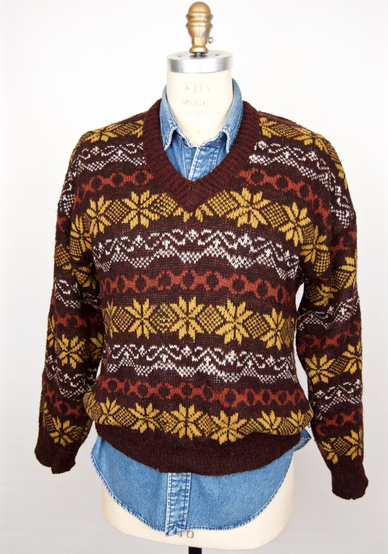 feeeee95d67f6a Vintage Snowflake Pattern Sweater   Wool  N Wool brown