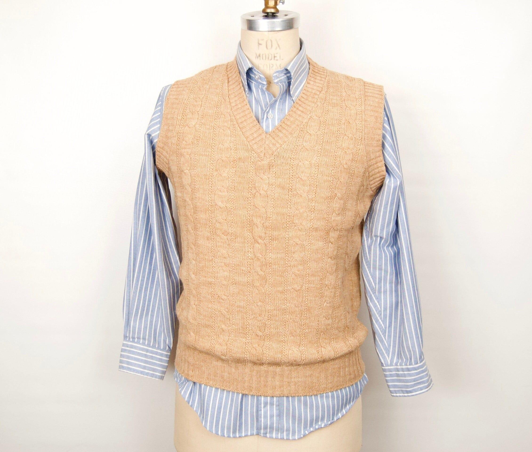 80s Sweatshirts, Sweaters, Vests | Women 1980S-70S Khaki Cable Knit Sweater VestVintage Light Tan Jantzen Mens Large $55.00 AT vintagedancer.com
