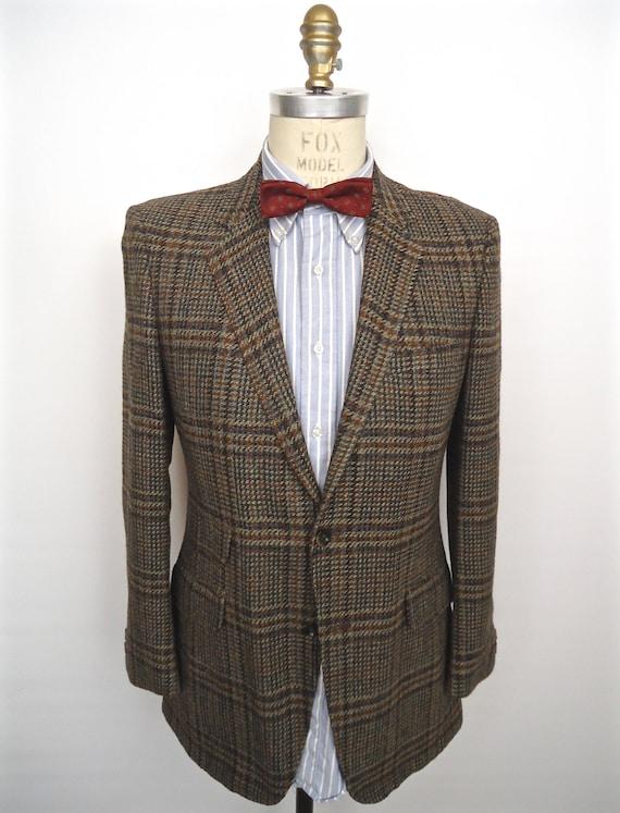 Manteau de Sport des années 1960 plaid Tweed / vintage Richman Brothers sportif brun gris vert Glen check laine costume veste noire / petit des hommes