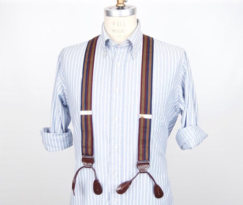 style à la mode profiter du prix le plus bas tout à fait stylé A strisce in pelle-end bretelle/vintage striscia verticale pulsante  regolabile-su bretelle uomo/oxblood marrone navy blu Bordeaux oro rosso