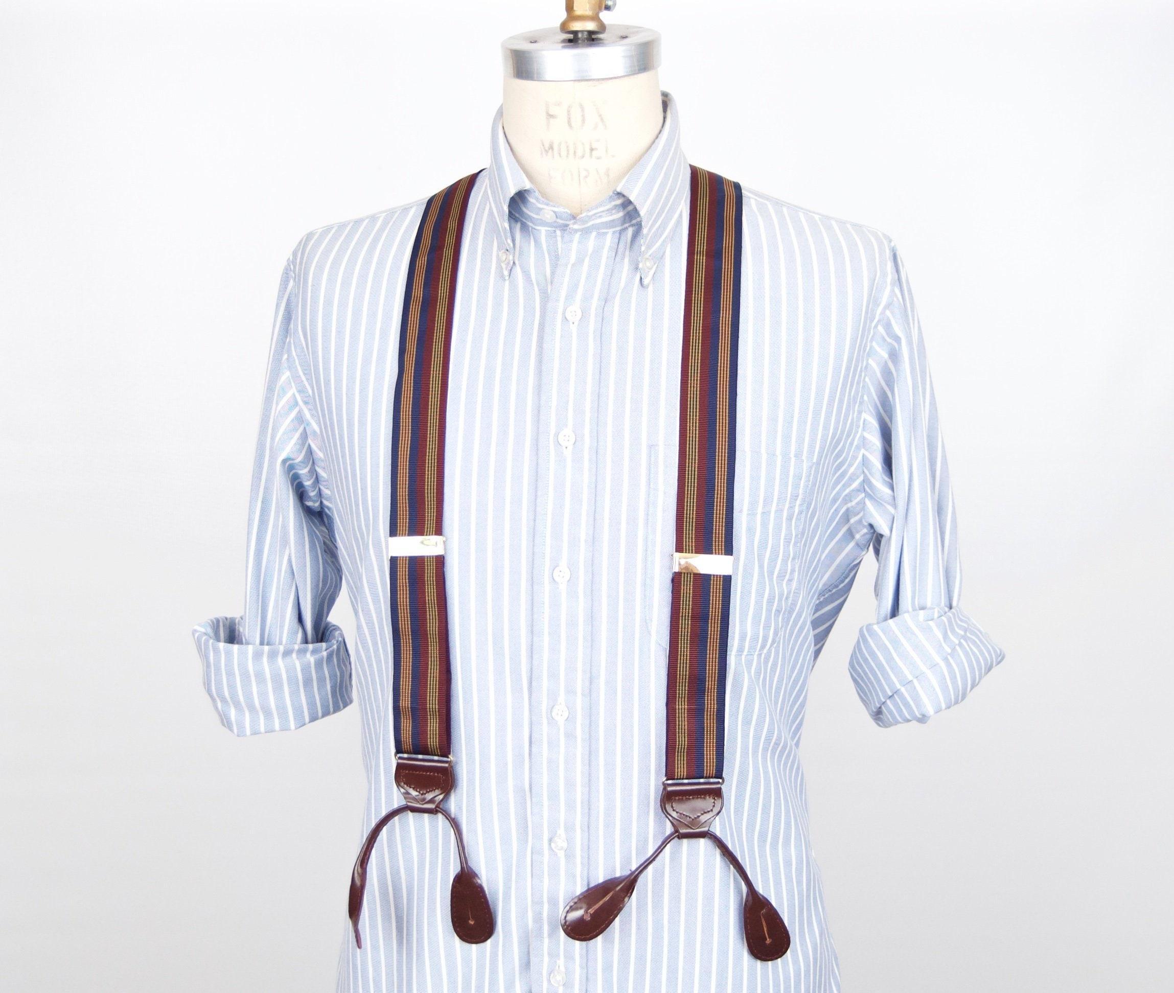 New Y back Men/'s Suspenders Braces clip on convertible Navy blue beige Stripes