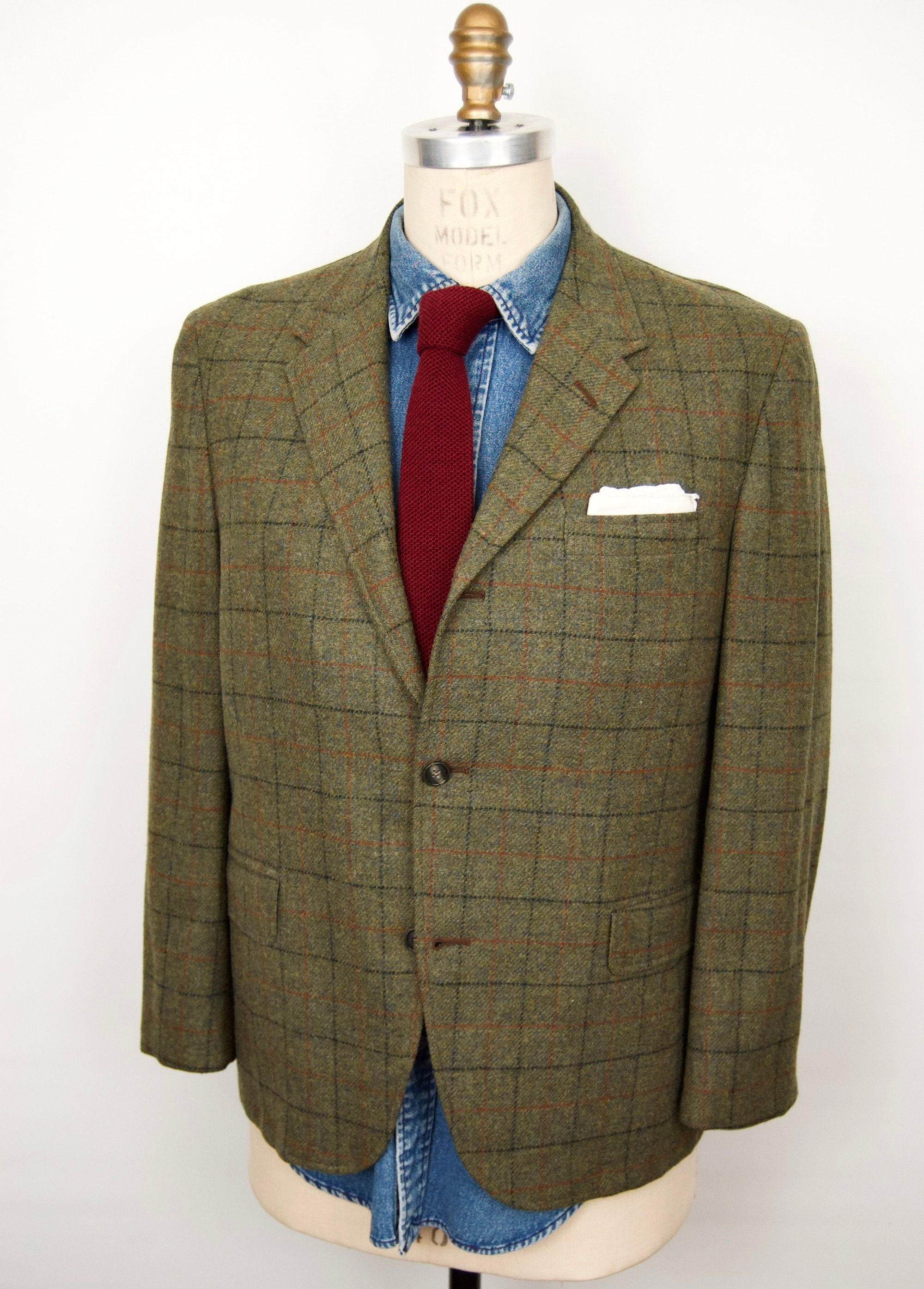 1950s Mens Suits & Sport Coats | 50s Suits & Blazers 1950S-60S Tweed Sport Coat with Windowpane Check PatternSutton Park Green Plaid Wool Suit Jacket Mens 42S $28.00 AT vintagedancer.com