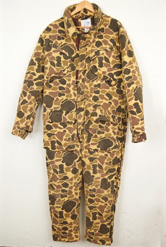 1980s Camo Hunting Jumpsuit / tan brown khaki camo
