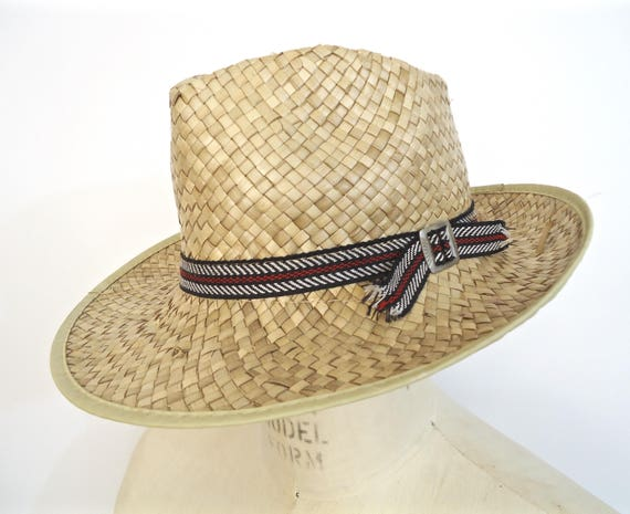 1625faa98f1fc SALE Vintage Men's Straw Sun Hat / tan khaki woven wicker | Etsy