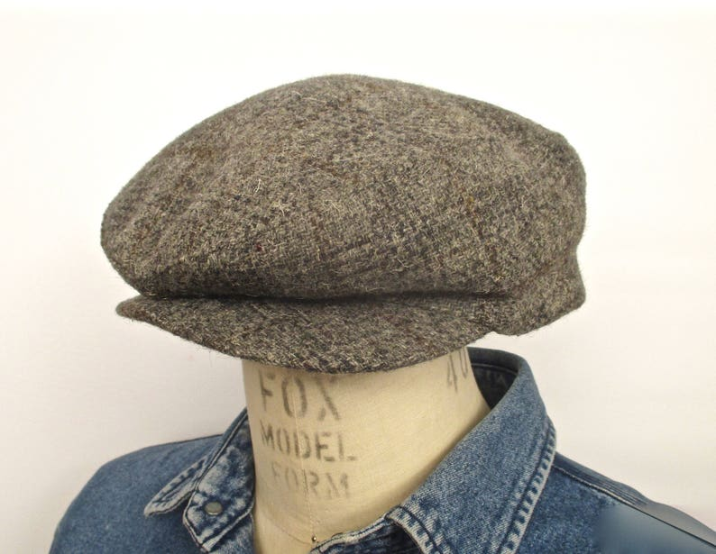 d70950a5ce46b Stetson Plaid Tweed Flat Cap   vintage gray brown windowpane