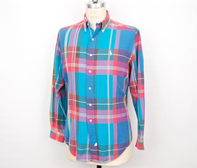 dd6c71436d5b6 Ralph Lauren Pastel Plaid Shirt / vintage Polo pink, blue, white, red,  purple button-down / check pattern cotton long sleeve / men's large