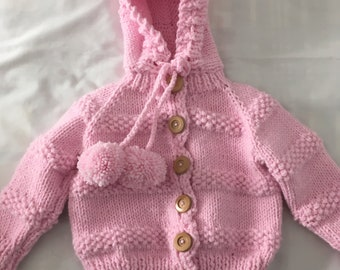 Pink hooded cardigan, size 2/3