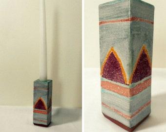 Southwestern Candle Holder - Vintage 1980s Blue and Mauve Geometric Design - Artist Signed