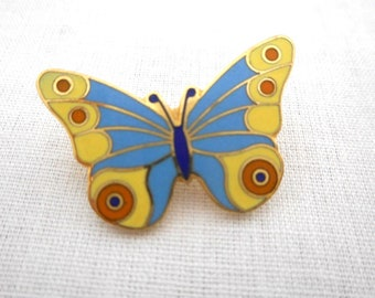 Vintage Enamel Butterfly Pin Blue and Yellow