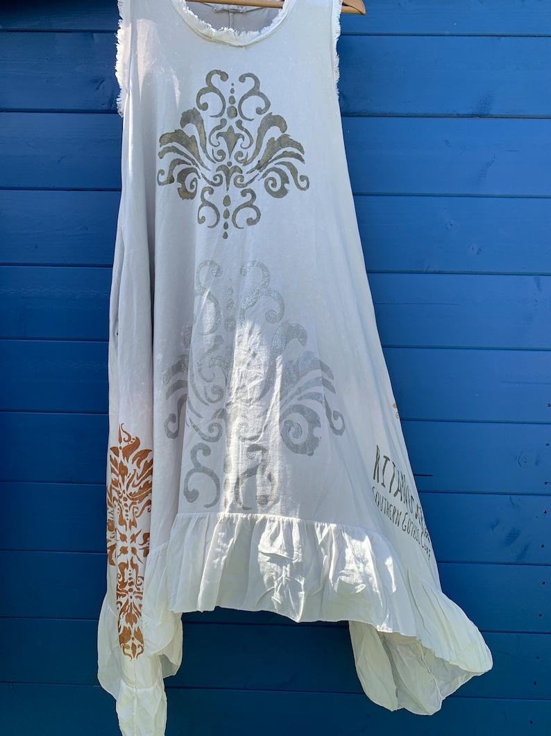 622fd7128eb83 Hand Printed Dress free size asymmetric damask metallic grey gold art to  wear quirky prairie boho lagenlook RitaNoTiara funky Ready to Ship