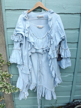 Mother of the bride groom two piece suit jacket long tunic top cotton silk voile lagenlook blue More colours  gypsy boho wedding RitaNoTiara