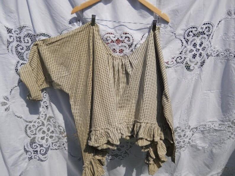 Cream black OSFA Artist shirt stripe vintage French ticking smock asymmetric plus size regular petite curve hem RitaNoTiara Southern Gothic