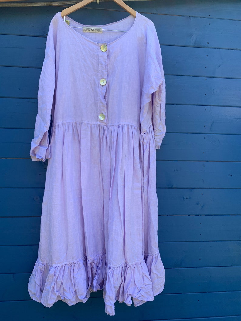 6e63726f0f176 Lavender Long Linen Dress free size oversized boxy quirky vintage style  prairie boho lagenlook RitaNoTiara chic funky layering Ready to Ship