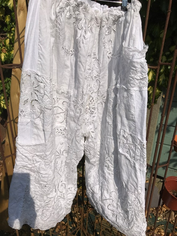 266486687f White Linen Embroidered Pants trousers bloomers pantaloons
