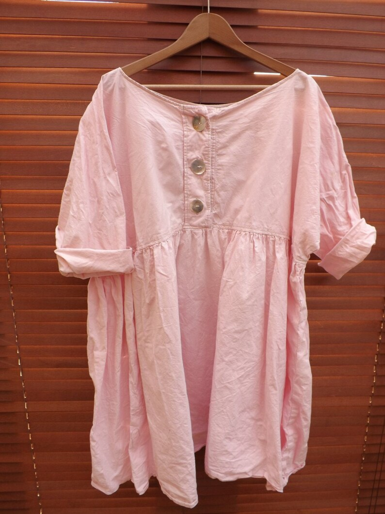 61415448a4 Linen babydoll dress shirt top empire line hand made to order
