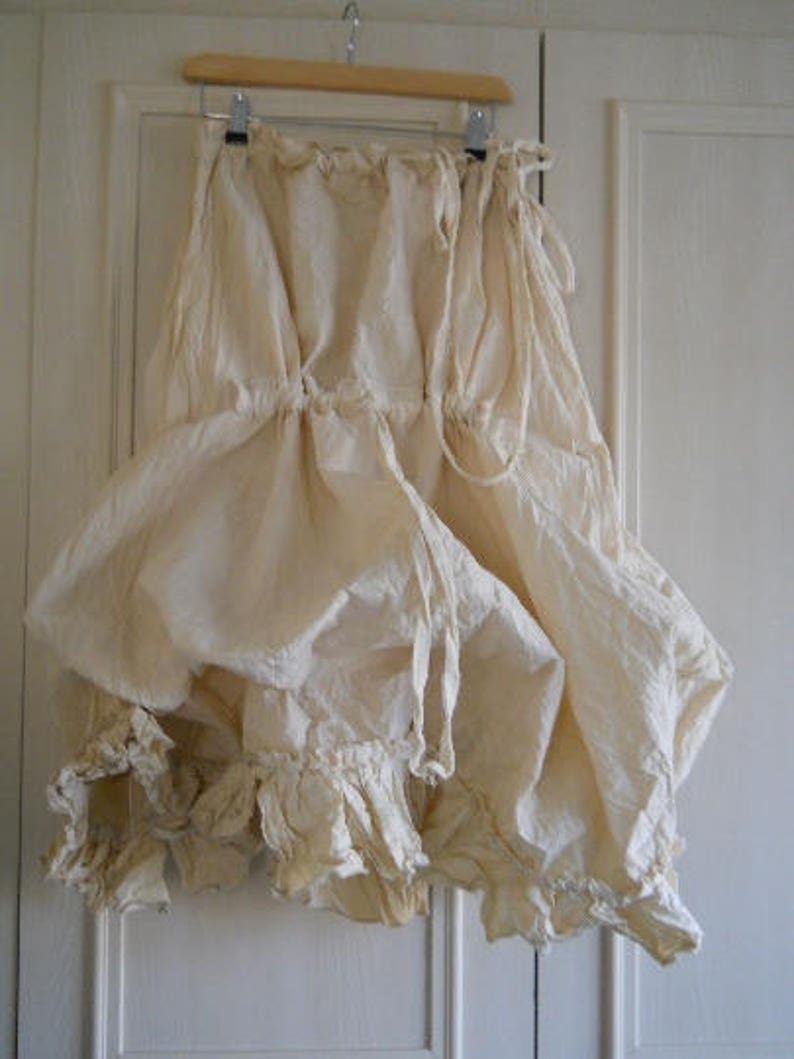 Quirky funky skirt cotton all sizes parachute puffball balloon hitch lagenlook layer look layering made to order cream RitaNoTiara boho chic