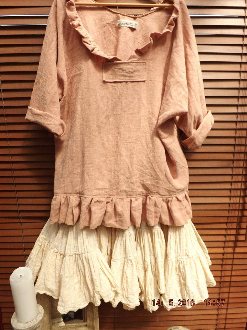 RITANOTIARA Saffy European Linen Prairie Oversized shirt Pink Rose Oversize Mid West Prairie Shabby Chic Hippy Boho Lagenlook long sleeves