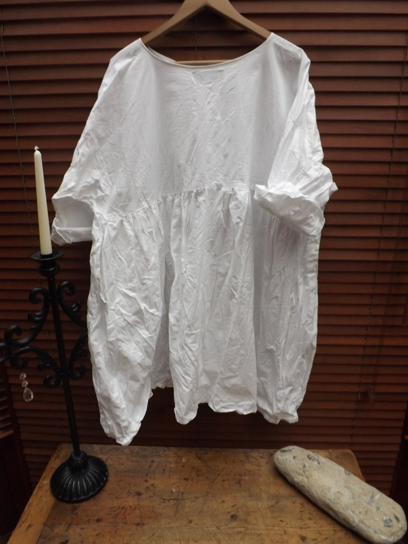 eb64d1c00d Pure Cotton top empire line dress boho Prairie White smock