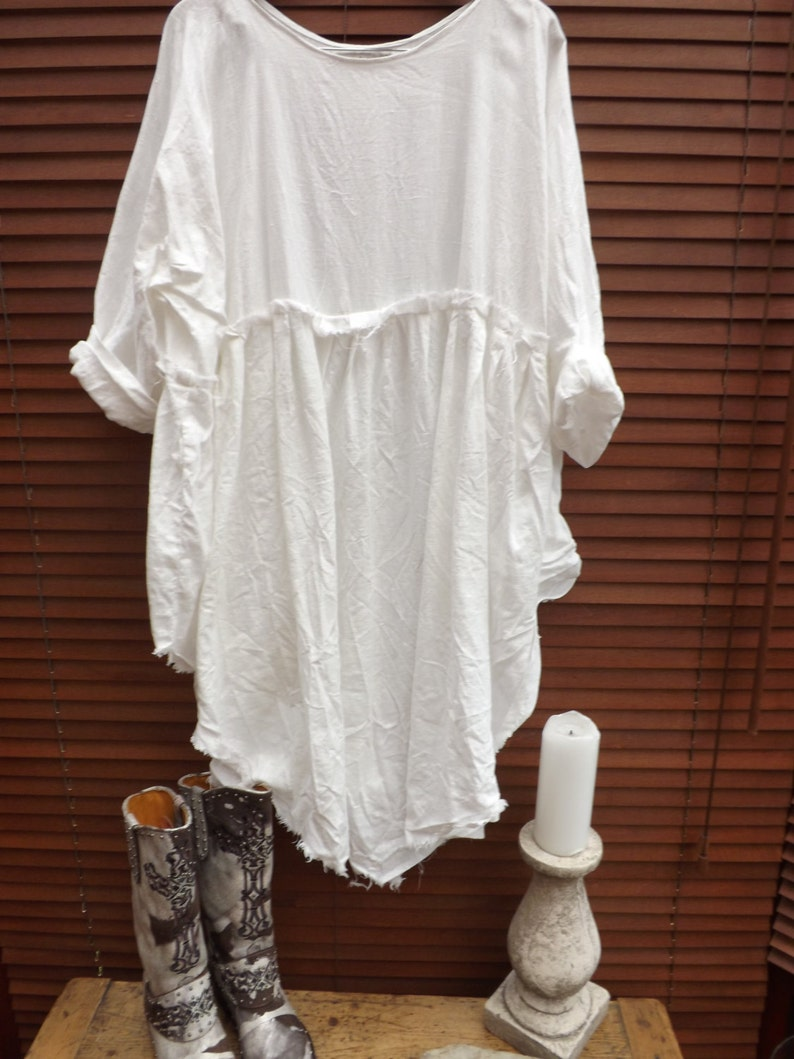 1f789df199 White Linen dress empire line hand made to order smock curve