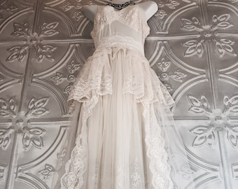 short cream ivory /& soft white wedding engagement tiered lace dress by mermaid miss k