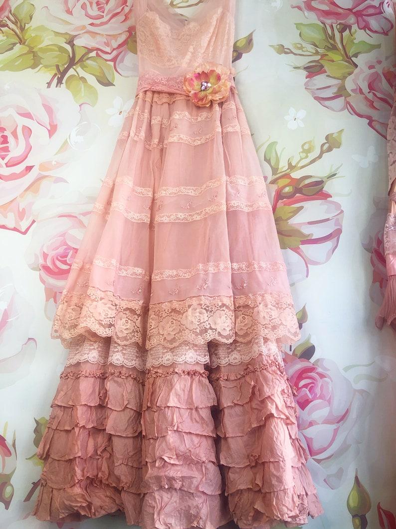 Blush Rose Gold Lace Chiffon Cotton Boho Wedding Dress By Mermaid Miss Kristin