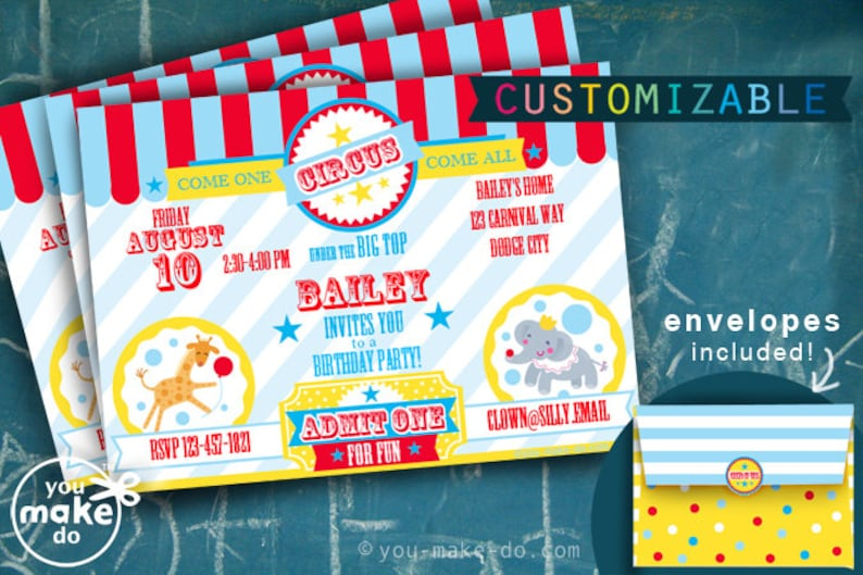 Circus Invitation Circus Party First Birthday Circus Birthday Circus Invite Bday Invite Birthday Invites 1st Birthday Invitation Boy