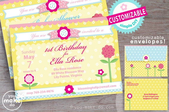 Girl Invitation 1st Birthday Baby Shower
