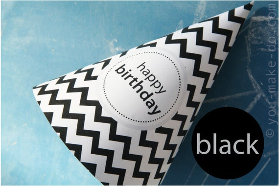 Black Party Hat Printables Birthday Hats
