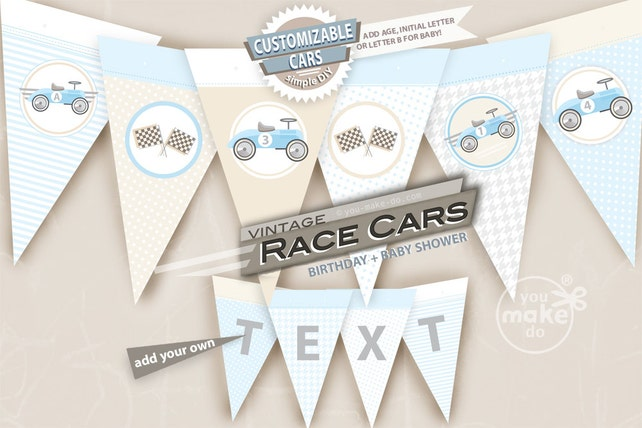 Light Blue Race Car Party Vintage Boy Baby Shower Decorations Retro 1st Birthday Supplies Printable 2nd