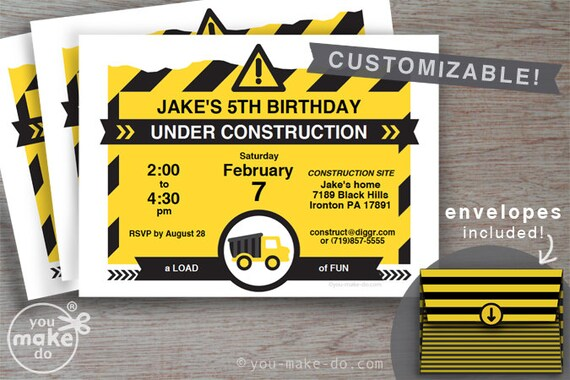 INSTANT DOWNLOAD construction invitation, construction birthday invitation, construction party invitation, under construction invitation PDF