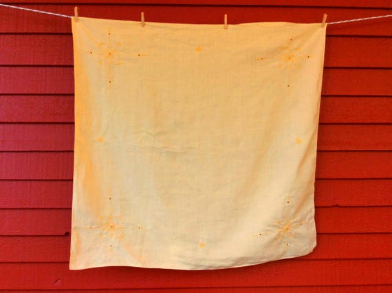 pale yellow square vintage tablecloth table topper card table etsy