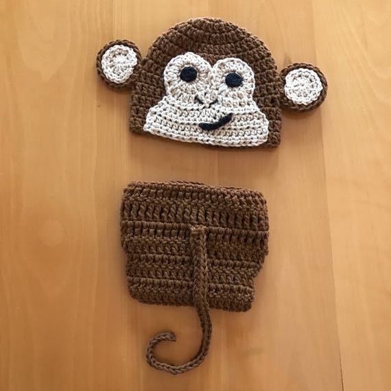 Pattern Instant Download Monkey Hat And Diaper Cover Newborn Etsy