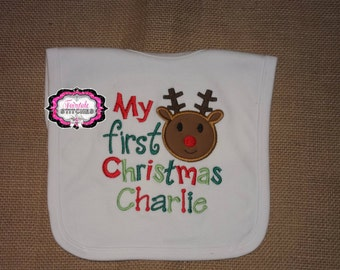 My First Christmas, My First Christmas Bib, First Christmas, Baby Shower Gift, Baby Gift, Baby First Christmas
