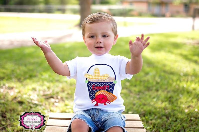ac53a956d Crab Shirt Sand Pail Shirt Boy Beach Shirt Conch Shell | Etsy