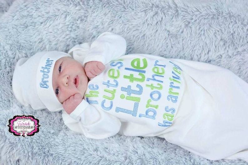 Baby Shower Gift Hospital Outfit Brother Hat Infant Gown Infant Gown The Cutest Little Brother Has Arrived Take Home Outfit