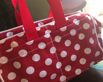 Red and white polka dot purse