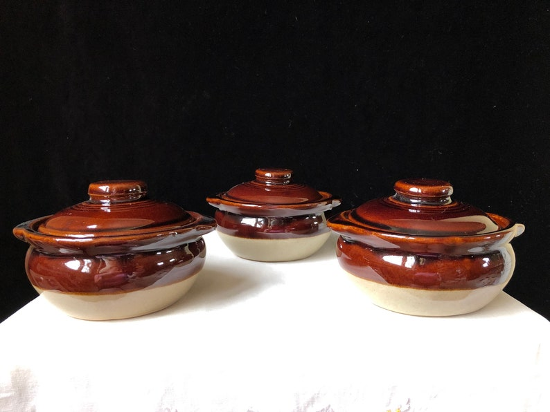 Individual Bean Pots Covered BowlsCrocks Monmouth Pottery Set of Three Tan and Brown
