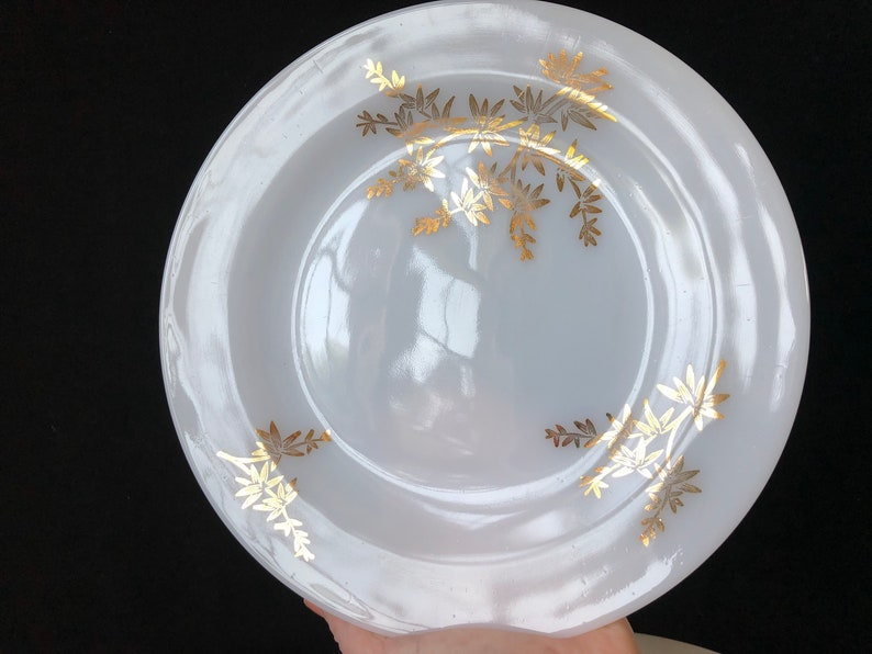 Dinner Plates White with Gold Bamboo Federal Golden Glory Set of 5