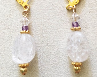 Ice Flake Quartz Nugget Earrings, with Gold Spacers, Tiny Amethyst, Round Gold Beads and Swarovski Crystals.