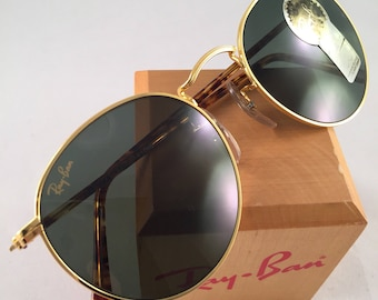 e6b8be879d Vintage Ray Ban Bausch And Lomb Round W1857 Round Tortoise Sunglasses 50mm
