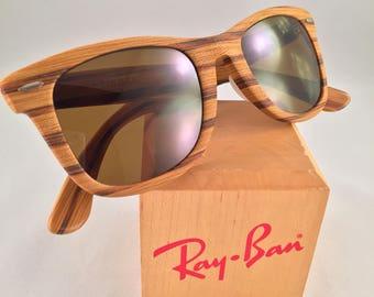 2924de064f Vintage Ray Ban Bausch and Lomb Pinewood Woodies Wayfarer B15 Brown Lens  5022 New USA