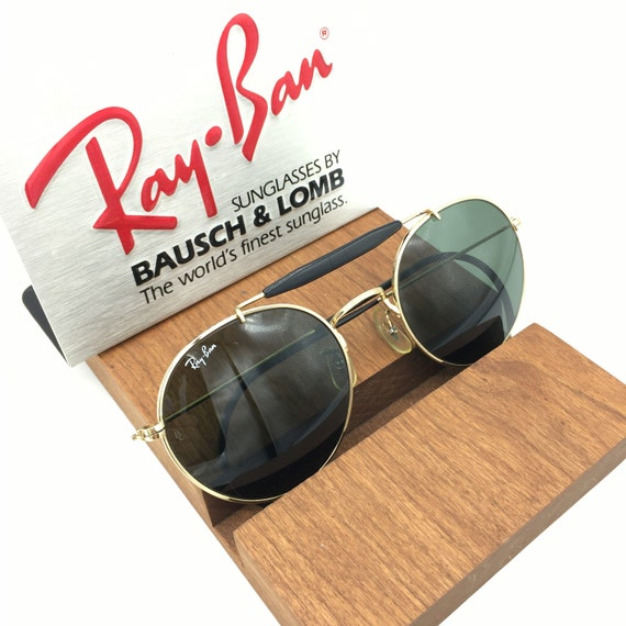 VINTAGE B&L Ray Ban W0920 gold/black G15 Round Out