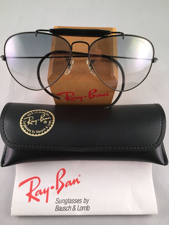 30e2547f938 Vintage Ray Ban Bausch and Lomb Black Outdoorsman Gray ultra