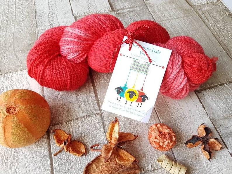 Hand dyed yarn pink yarn red yarn OOAK Poppy Dipdye image 0