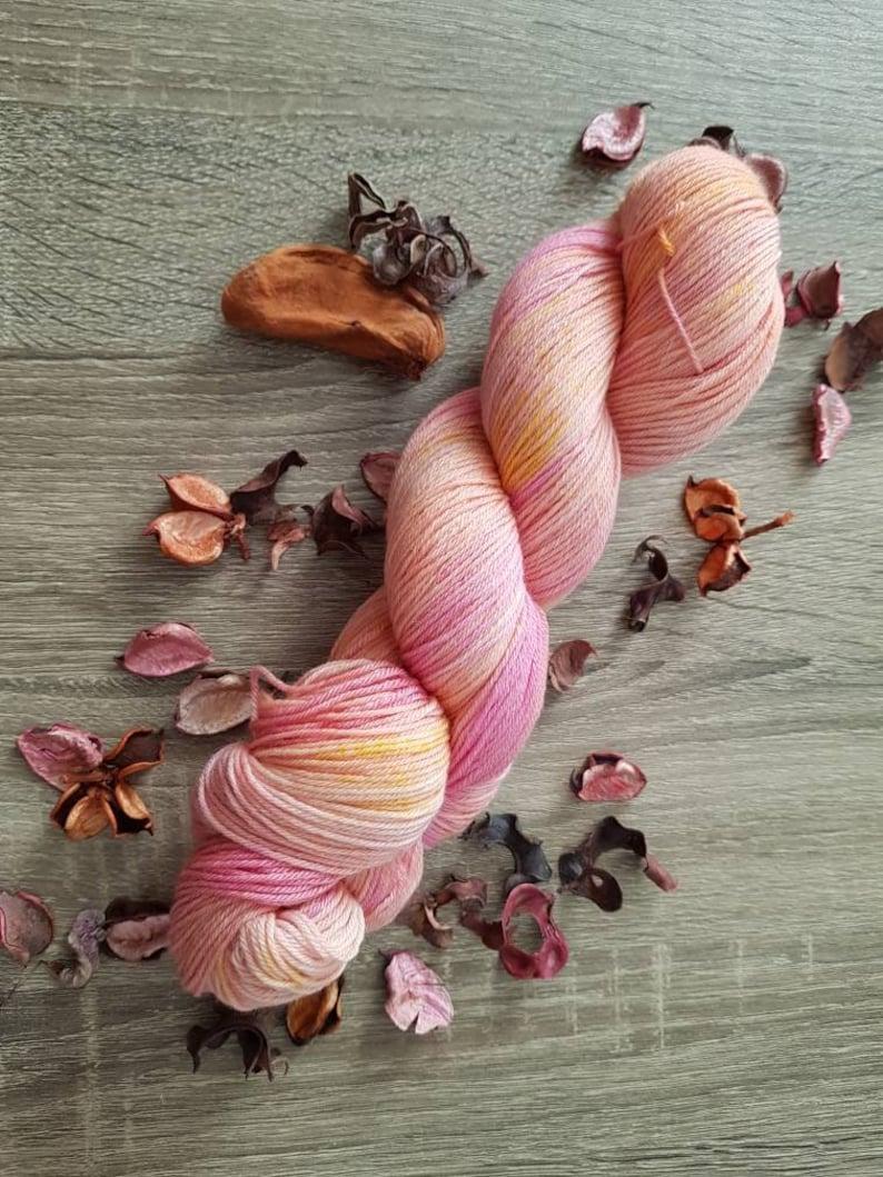 hand dyed pink yarn pink wool floral yarn Lewisia image 0