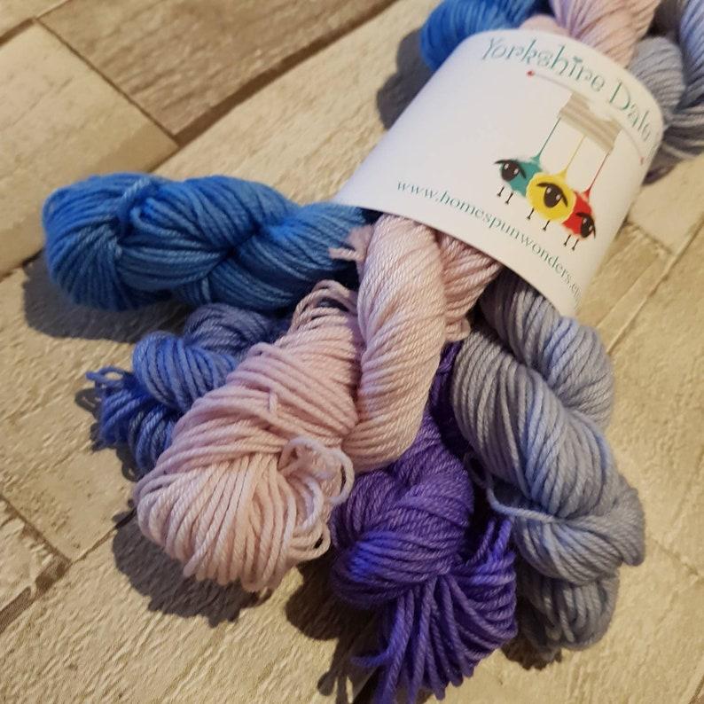 Mini Skein Set Hand dyed yarn 5 x 20g skeins hand dyed image 0