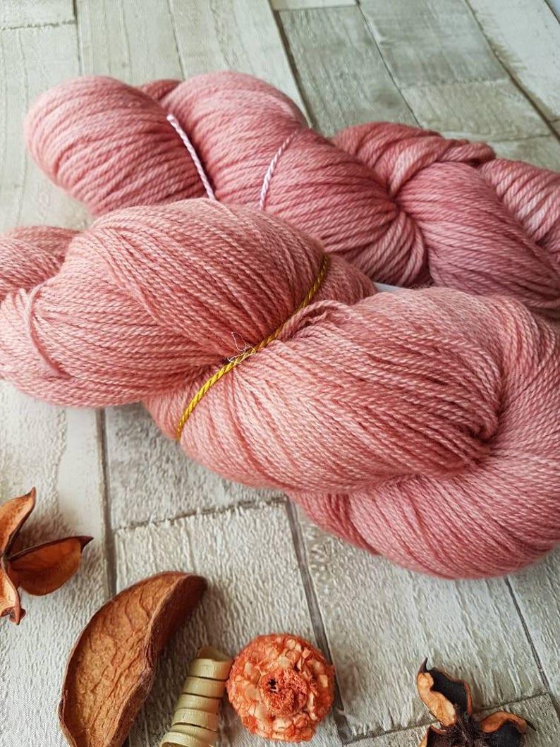 Hand dyed yarn Pink yarn Lace yarn Aran yarn 4ply yarn DK image 0